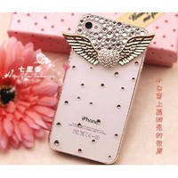 3d Bling Crystal Angel Wings Transparent Case, Cover for Apple Iphone4, 4g and 4s: Cell Phones &amp; Accessories