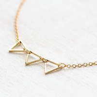 Mini Bunting Triangle Necklace in Matte Gold
