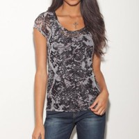 G by GUESS Lacey Short Sleeve Snake Mesh Top