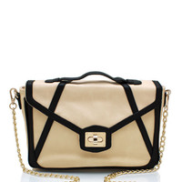 Faux-Leather-Contrast-Bag CREAMBLACK - GoJane.com