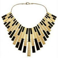 Statement Black and Golden Collar Necklace