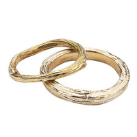Wedding Rings in Yellow Gold  -  Organic Twig and Branch Design  -  Set of Bands
