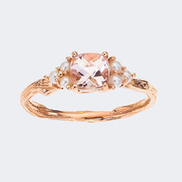 Rose Gold, Morganite and Pearl Ring - In Stock and ready to ship to your door - Vintage Inspired and Oh So Beautiful