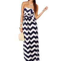 Pre-Order: Navy/White Strapless Chevron Maxi Dress