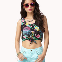 Tie-Front Tropical Crop Top
