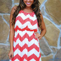 Innocence In Chevron Dress: Coral/Off White | Hope's