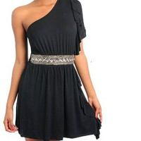 Amazon.com: G2 Fashion Square One Shoulder Rhinestone Party Dress(DRS-EVP,BLK-M): Clothing