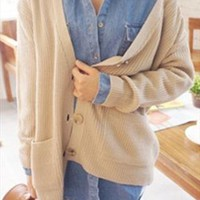 New oversize boyfriend beige knit cardigan from zamong-boutique