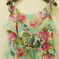 Floral Print Ruffles Top With Bow