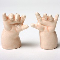 $35.00 Baby Hands Ceramic Salt and Pepper Shakers  by modernfx