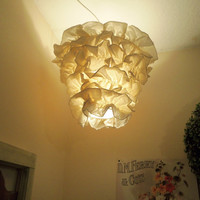 Ruffled Trim Chandelier Pendant Lamp Shade 'Ivory' by cokiethebaby