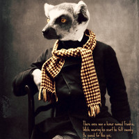 "Lemur Art Print, Original Poem, ""Frankie And His Scarf"" 8 x 10, Mixed Media Collage, Limerick, Watchful Crow Arts"