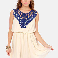 Applique You're OK Cream and Blue Lace Dress
