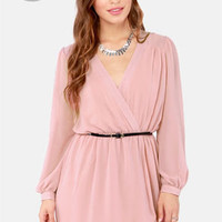 LULUS Exclusive Under Wraps Blush Pink Wrap Dress