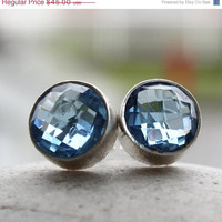 SALE 15 OFF Silver London Blue Quartz Stud Earrings - Gemstone Post Earrings