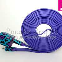 2-in-1 Funky Cheetah Leopard Purple iPhone 5 Charger - Available in 3 ft and 10 ft long