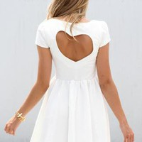 White Heart Cutout Dress with Cap Sleeves&Gathered Waist