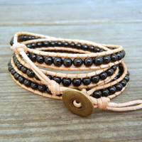 Beaded Leather Wrap Bracelet 4 Wrap with Black by BraceletsByBetz