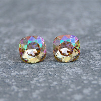 Light Topaz Rainbow Earrings - Super Sparklers Square - Swarovski Crystal Light Topaz Rainbow Square Stud Earrings - Mashugana