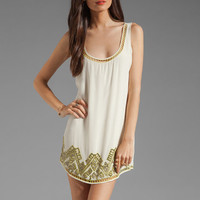 Twelfth Street By Cynthia Vincent Izmir Pyramid Shift Dress in Beige with Citron from REVOLVEclothing.com