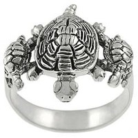 Tressa Sterling Silver Three Turtles Ring | Overstock.com