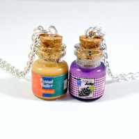 Peanut Butter and Jelly Jar Necklace Set, Best Friend's BFF Necklaces, Cute :D
