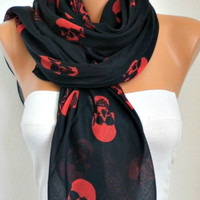 BIG SALE Skull Scarf - Cotton Scarf Shawl Bridesmaid Gift  Multicolor Beach wrap Pareo -fatwoman