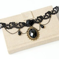 Elegant Faux Gem and Beads Decorated Tassels Necklace For Women
