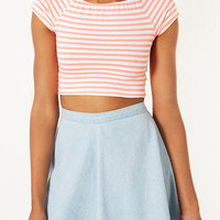 Stripe Bardot Crop Top - Jersey Tops - Clothing - Topshop USA