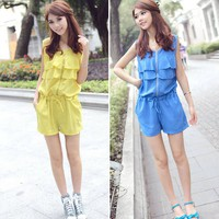 Sleeveless Scoop Neck Flounce Edge Chiffon Sweet Style Jumpsuit For Women