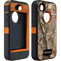 Otterbox Defender Realtree Series Hybrid Case & Holster for iPhone 4 & 4S  - Retail Packaging - Blaze Orange/AP Camo Pattern