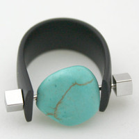 Turquoise and Black Rubber Ring with Brass, Industrial, Steampunk, Unisex