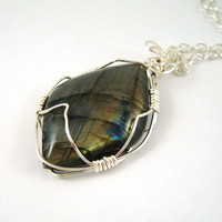 Wire Wrapped Labradorite Pendant