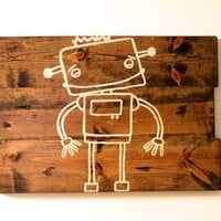 Robot Art, Boys room wall art, baby boy nursery art, Kids Robot art