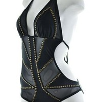 Black One Piece Monokini with Sheer Mesh Cut-outs and Golden Beads Trims