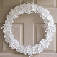 White Paper Flowers Wreath 18 inch