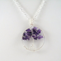 Amethyst Tree of Life Pendant Necklace by HCJewelrybyRose on Etsy