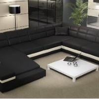 Amazon.com: Black & White Modern Contemporary Leather Sectional Sofa: Home & Kitchen