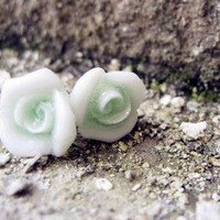 Handcraft Ceramic Light Green Rose Earrings Studs. Cute Floral Studs