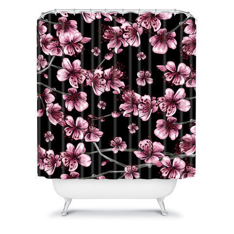 Belle13 cherry blossoms on black shower from deny designs