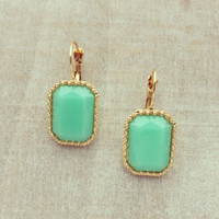 Pree Brulee - Mint Rectangular Earrings