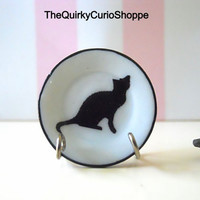 Dollhouse Miniature Plate Quirky Black and White Cat Silhouette Plate 1:12 Scale