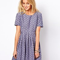 ASOS Smock Dress With Embroidered Spot In Chambray at asos.com