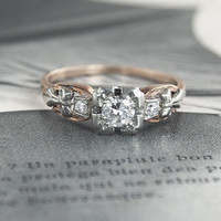 Two-Tone Diamond Ring with Bow Detail | Erica Weiner