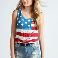 Olivia USA Flag Crop Tee