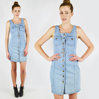 vtg 80s 90s grunge revival blue DENIM jean BUTTON up BODYCON bandage festival mini dress S