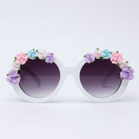 Floral Sunnies White