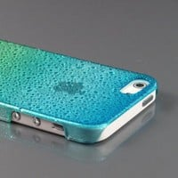 Blue+Green Sparkling Water Droplet Raindrop Design Clear Case Cover