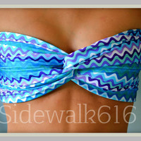 Etsy Transaction -          Blue Print Bandeau Top Spandex Bandeau Bikini Swimsuit