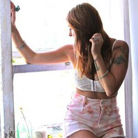 Dark Pink Tie-Dye High Waisted Shorts